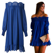 Sexy Women Blue Polyester Off-Shoulder Strapless Lace Wrapped Skirt Dress Chic