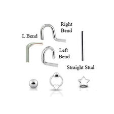 925 Sterling Silver Nose Stud Screw Ring L Bend Pin 22G