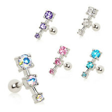 316L Surgical Steel Ear Cartilage Piercing Earring Ring 3 Stone 16 Gauge 16G