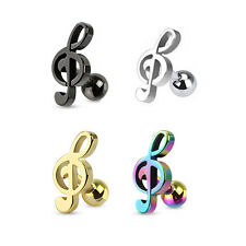 316L Surgical Steel Ear Cartilage Piercing Earring Ring Music Note 18 Gauge 18G