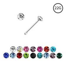 925 Sterling Silver Nose Bone Ring 2.5mm CZ 22 Gauge 22G