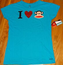 NWT Ladies I LOVE PAUL FRANK JULIUS Blue Cotton Tee Shirt Glitter Embellishments