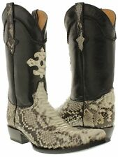 Mens All Real Python Snakeskin Leather Cowboy Boots Western Riding 3X Toe