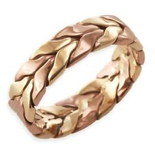Handmade 9ct Yellow & Rose Gold Twisted Braid Band Ring