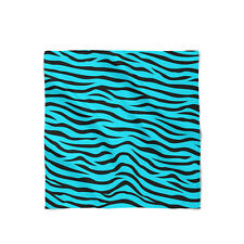 Zebra Print Bright Blue Satin Style Scarf - Bandana in 3 sizes
