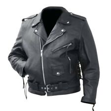 MENS MOTORCYCLE COWHIDE SOLID LEATHER JACKET w/ZIPPER CONCEAL POCKETS SIDE LACES