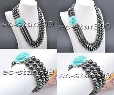 "D0220 SET 3row 20"" 11mm Black Round FW Cultured Pearl necklace & bracelet"