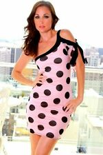 NEW Juniors Retro Pink Polka Dot Size Small S Sexy Party Sundress Cute Dress