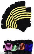 Neon Stripe Fingerless Acrylic Sweater Knit Gloves/Hand Warmers *8 Colors* OS