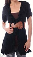 Black Short Sleeve Ruffled/Belted Tunic Cover-Up S M L