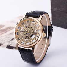 Hollow out NEW Skeleton Dial Hand-winding Mechanical Leather Watch Men's WINNER