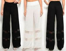 Black or Cream Gauze w/ Lace Insets Wide Leg Long Pants/Palazzo S
