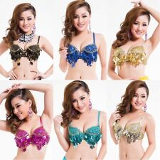 Womens Nice Twinkling Sequined Belly Dance Bra Top Beaded Fringe Dancing Costume