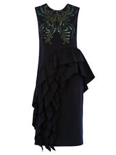 New Dries Van Noten 'Darrel' Black/Green Sequinned Asymmetric Ruffle Dress