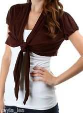Brown Cap Sleeve Tie Front Cropped Bolero Shrug Cardigan/Wrap/Cover-Up