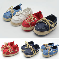 Toddler Baby Boys Soft Crib Shoes Sole Striped Lace Up Shoes Trainers Prewalker