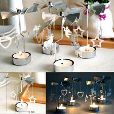 Rotating Spinning Tea Light Holder Christmas Candle Table Decoration Carousel b2
