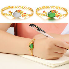 Women Retro Style 18k Yellow Gold Plated Link Chian Crystal Peacock Bracelet