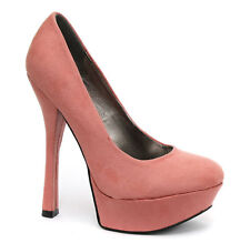 Odeon Coral Faux Suede Womens Platform High Heel Court Shoe ALL SIZES