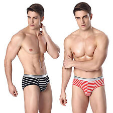 Sexy Underwear Men Trunk Boxer Briefs Shorts Bulge Pouch Soft Stripe Underpants