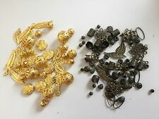 Mix Bright Golden / Antique Bronze Beads + Charms Leaves, Coins, Flowers & Caps