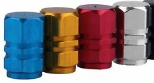 4 X TYRE VALVE/DUST CAPS - BLUE, RED, YELLOW OR SILVER - CAR/VAN/MOTORBIKE