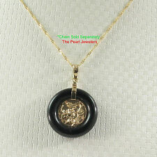 TPJ 14k Solid Yellow Gold Hand Crafted Dragon;19mm Black Onyx Pendant Necklaces