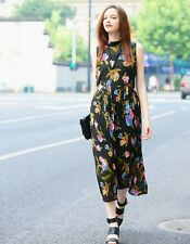 New Womens Ladies Black Floral Print Sleeveless Pleated Summer Party Dress
