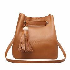 Cute Genuine Leather Shoulder Bags Medium Bucket Tote Women Evening Handbags