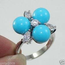 Fashion Women's 8mm Genuine Blue South Sea Shell Pearl Crystal Ring Size 7/8/9