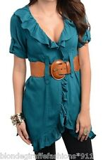 Teal Short Sleeve Ruffled Tunic Cover-Up Blouse Top w/ Belt M