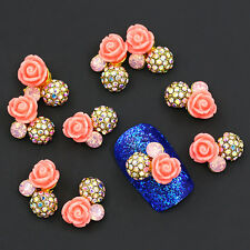 10Pcs 3D Rose Flower Crystal Rhinestone Nail Art Sticker Tips DIY Decor Striking