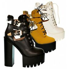 S509 - Ladies Cut Out Twin Buckle Chunky Cleated Platform Ankle Boots - UK 6&7