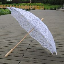 Newly Wooden Shaft Cotton Umbrella Women Fashion Hollow Photography Umbrella