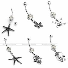 14G Stainless Steel CZ Crystal Barbell Belly Navel Ring Sexy Dangle Piercing