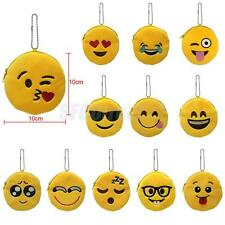 Girls Cute Mini Emoji Smiley Face Wallet Coin Bag Soft Plush Purse Kids Gift