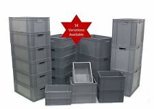 NEW Very Strong Heavy Duty Type Stackable Plastic Euro Storage Boxes 16 Sizes