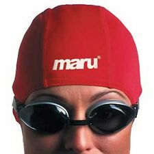 Maru Polyester Swimming cap swim - senior, adult red fabric material stitched