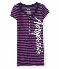 AEROPOSTALE ~ NEW NWT ~ M or XL ~ Purple Fitted Silver Vertical Script Henley S