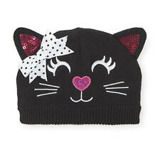 Koala Baby Girls Black Cat Face Halloween Knit Hat with Bow Detail
