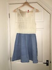 H&M Divided Cream & Denim Jersey Dress Size 14 In Excellent Condition