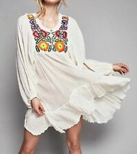 New Womens Summer Beach Floral Embroidered Long Sleeve Mini Tunic Party Dress