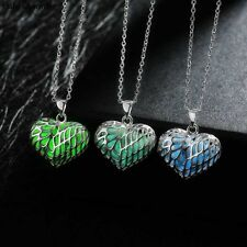 Top Quality Noctilucent Necklace Gift Silver Plated Hollow Heart Fashion 28x23mm