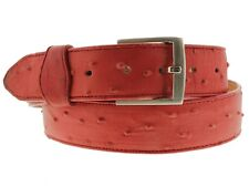 Men's Red Real Leather Ostrich Exotic Pattern Casual Dress Golf Jean Belt