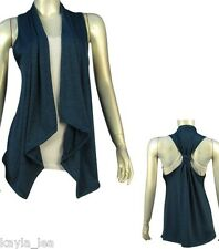 Teal Blue Racerback Asymmetrical Drape Bolero/Shrug/Cardigan Cover-Up Vest S/M/L