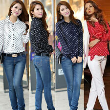 New Fashion Women Chiffon Polka Dot Long Sleeve Loose Tops Blouse Casual Shirt
