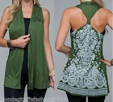 Green Scroll Back Sleeveless Racerback Bolero/Shrug/Cardigan Cover-Up Vest