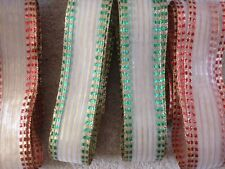 Christmas Striped organza - Red/Gold or Green/Gold - width 37mm, LAST FEW pieces