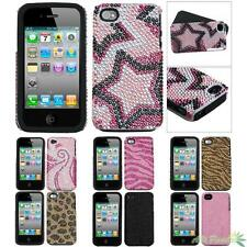 Phone Case Cover For APPLE iPhone 4/4S Bling Rhinestone Fusion Silicone