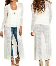 Creamy Ivory Soft Lightweight Sweater Knit Open Front Maxi Cardigan/Cover-Up